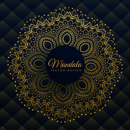 premium mandala decoration in golden ethnic style Illustration