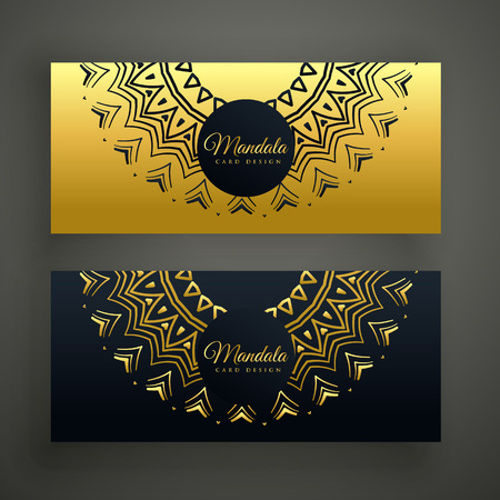 tantra: black and golden mandala decoration banner design background