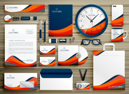 corporate identity business template design set with orange blue wavy shape