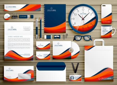 corporate identity business template ontwerp set met oranje blauwe golvende vorm