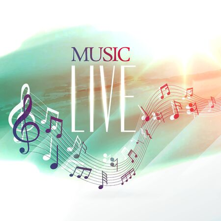 live music design poster with notes wave