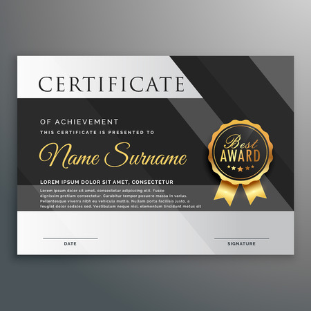 premium gold and black certificate design template  イラスト・ベクター素材