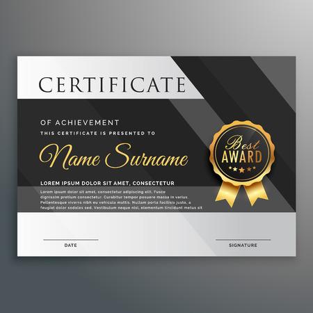 premium gold and black certificate design template 向量圖像