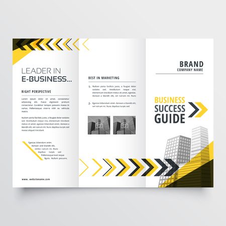 awesome tri fold brochure design in yellow black shapes with arrow