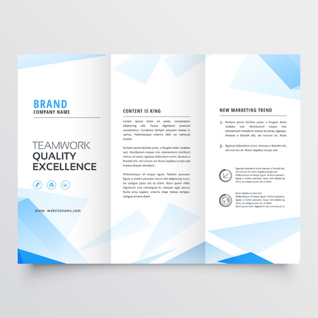 abstract blue business tri fold brochure design vector illustration