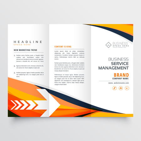 orange business tri fold leaflet brochure design flyer annual report Illustration