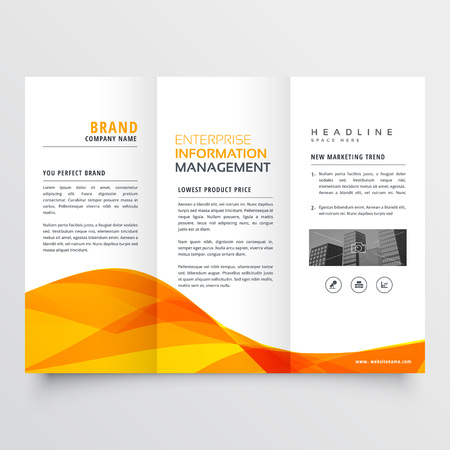 tri fold brochure design corporate business template with orange wavy shape