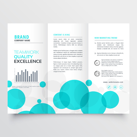 elegant creative blue circles tri fold brochure design template Illustration