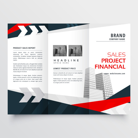 Elegant red black business trifold brochure design template Illustration