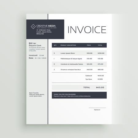 Creative invoice template vector design.