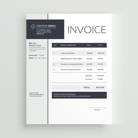Creative invoice template vector design.