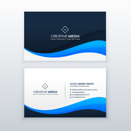 A stylish blue wave business card vector design.