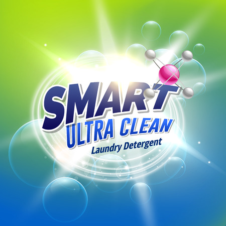 A laundry detergent advertising concept design for product packaging.
