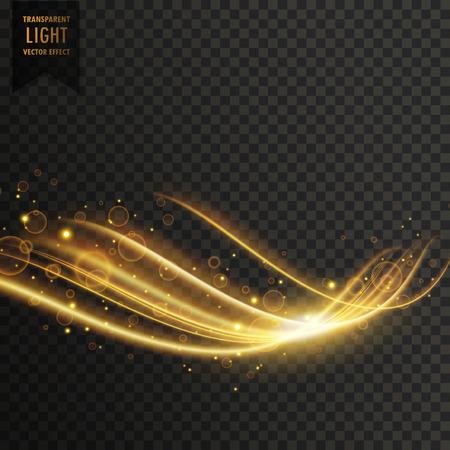 A transparent golden light effect with glitter vector. Illustration