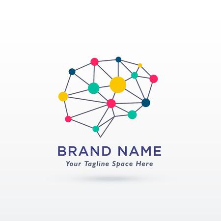A digital brain concept design logo vector on a colorful presentation.