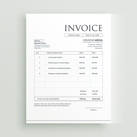 A minimal clean invoice form template design vector.