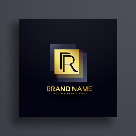 A letter R premium logo design concept in gold. Illustration