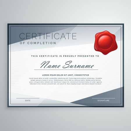modern certificate design with abstract shapes
