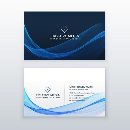 diseño de tarjeta de visita de onda azul elegante