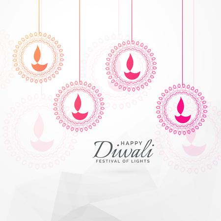 creative diwali festival greeting card design with hanging diya decoration