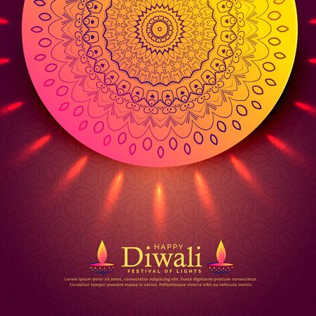 beautiful diwali celebration greeting with mandala decoration Illustration