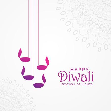 beautiful happy diwali card design with hanging diya lamps and mandala decoration Illustration