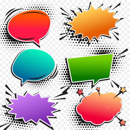 communication cartoon: colorful comic pop art chat bubble set