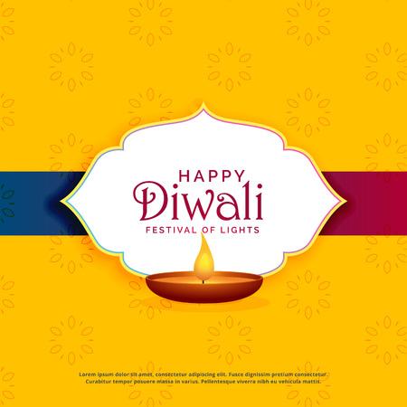 yellow happy diwali greeting card design with diya Vectores