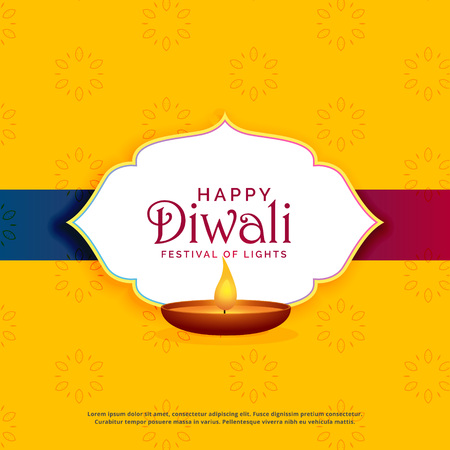 yellow happy diwali greeting card design with diya Illustration