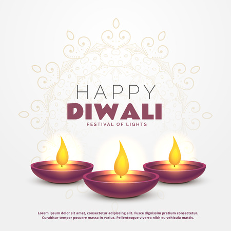 beautiful happy diwali greeting with burning diya for festival of lights