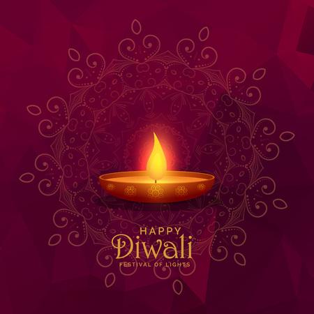 illustration of burning diya happy diwali festival background Illustration