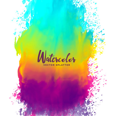 rainbow color watercolor splash stain background Illustration