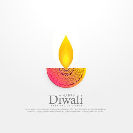diwali festival diya vector illustration in floral deocration design