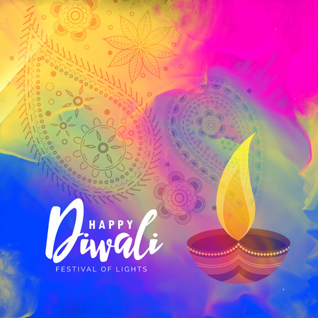 beautiful happy diwali watercolor background design Illustration