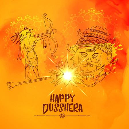 Illustration of lord ram killing ravan in dussehra festival