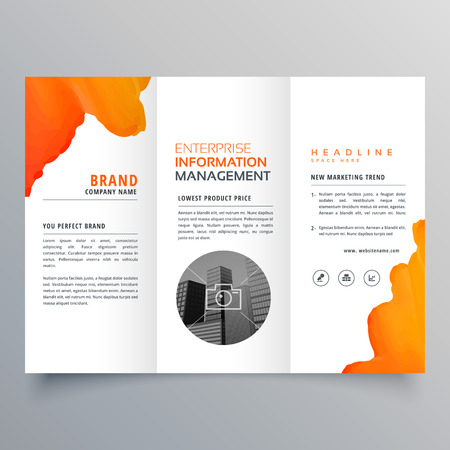 Orange watercolor trifold business leaflet brochure flyer template design Illustration