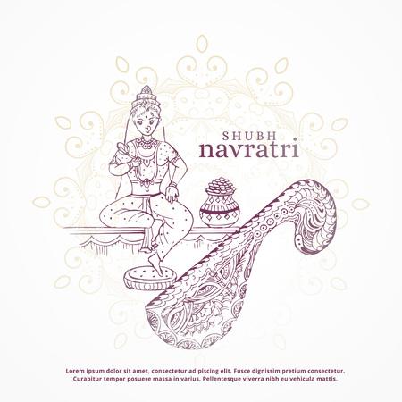 Shubh navratri festival design with goddess and kalash