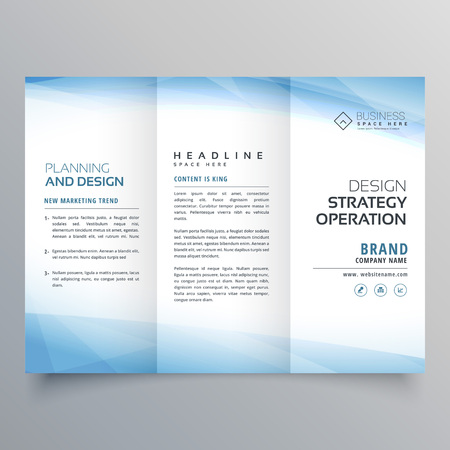 Business blue trifold brochure design template Illustration