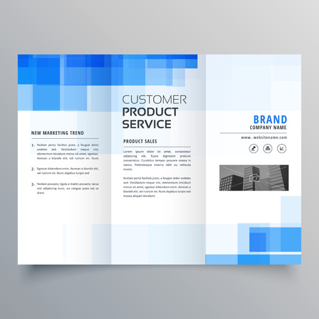 Blue square geometric trifold brochure design template