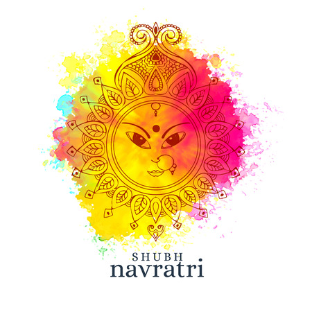 Happy navratri illustration with maa durga face on watercolor background