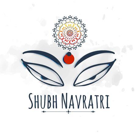 Shubh (happy) navratri celebration design with maa durga beautiful eyes