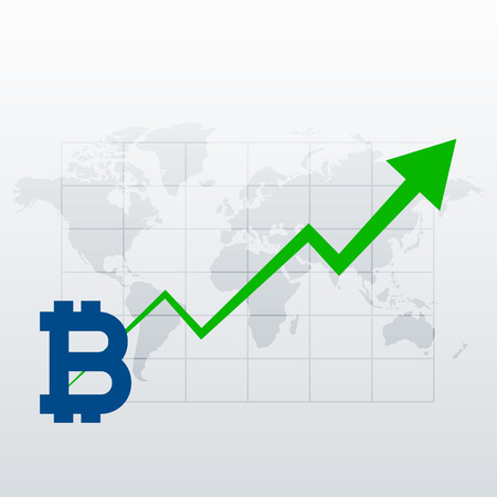 bitcoins upward trend growth chart vector