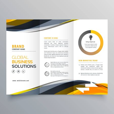 tri fold business brochure design template with wavy yellow black shapes