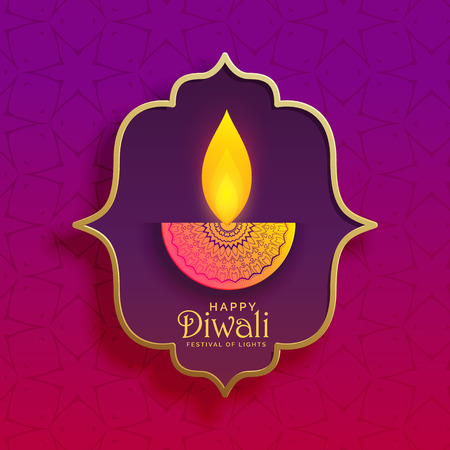 Eccitato creativo Diwali Diya sfondo vettoriale Archivio Fotografico - 87063669