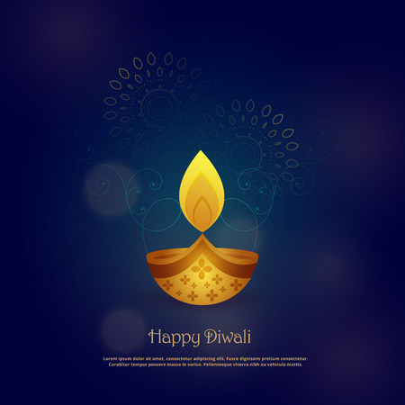 happy diwali card design with beautiful diya Illustration