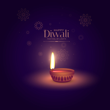 elegant happy diwali background with light focusing on diya Illustration