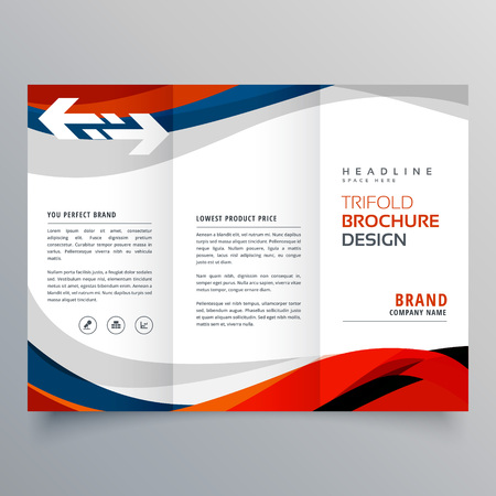elegant red and blue wave business tri fold brochure design template