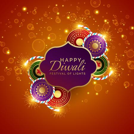 sparkling diwali festival sale background with crackers Illustration