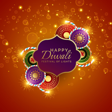 sparkling diwali festival sale background with crackers Illustration