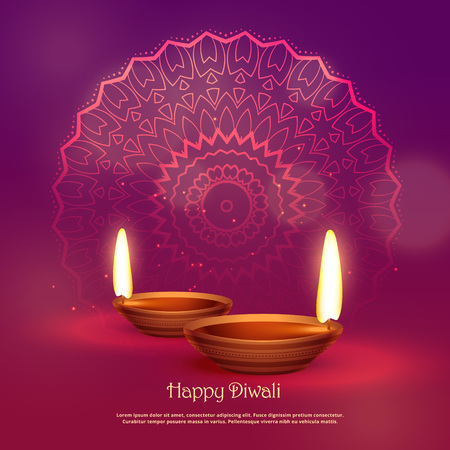 beautiful hindu festival of diwali vector background